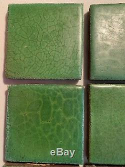 12 GRUEBY Green tiles, Arts and Crafts Ca. 1910 4 x 4