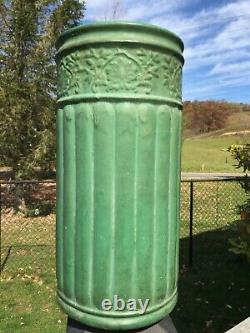 1904 Arts & Crafts Area Zanesville Pottery Dark Matte Green Umbrella Cane Stand