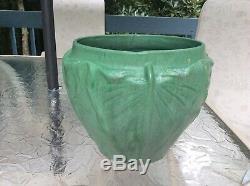 1905 Weller Pottery Matt Green Arts Crafts Leaves 9 Jardiniere Planter Grueby