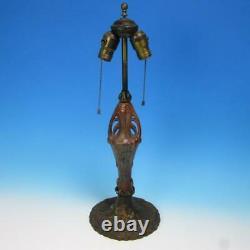 1910 Art Craft Iris High Relief Fulper Faience Pottery Bronze Lamp withMetal Base