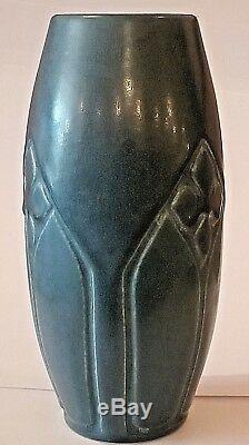 1919 Rookwood Arts & Crafts Carved Production Dark Blue Vase #2438