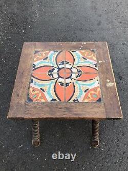 1930s California Arts & Crafts Ceramic Tile Table Mission Monterey Antique