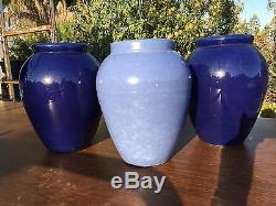 2 Vintage Oil Jars Cobalt Blue California Urns 12 Lg Bauer Mission Arts & Craft