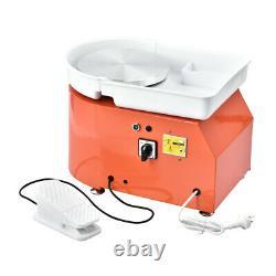 25CM 350W 110V Electric Pottery Wheel Machine Ceramic Work Clay Art Craft Orange