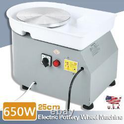 25CM 650W Electric Pottery Wheel Machine White For Ceramic Work Clay Art Craft