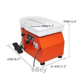 350W Electric Pottery Wheel Machine For Ceramic Work Clay Art Craft 25CM Orange
