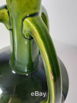 A Bretby Art Pottery Arts & Crafts Triple Handled Vase Graduated Green Glaze