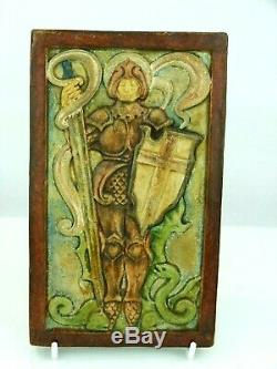 A Fine Rare Compton Pottery Arts and Crafts Plaque- St George and Dragon