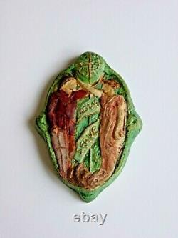 A Rare Compton Pottery Love Serve Pendant by Mary Seton Watts. Art & Crafts