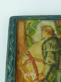 A Rare Compton Pottery Sir Galahad Arts & Crafts Plaque. Mary Seton Watts
