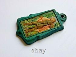 A Rare Compton Pottery Sir Galahad Pendant by Mary Seton Watts. Art & Crafts