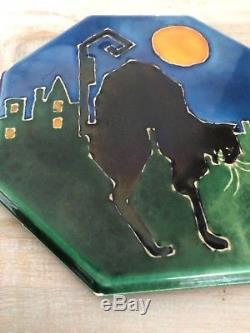 AETCO Arts & Crafts Halloween Art Pottery Tile Trivet Grueby Stickley Teco Era