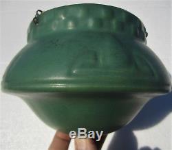 ANTIQUE 1910s ARTS & CRAFTS ROSEVILLE MATT GREEN POTTERY UFO HANGING BASKET VASE