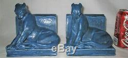 Antique 1929 Arts Crafts Mission Matte Rookwood Art Pottery Panther Cat Bookends