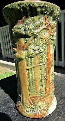 Antique 8 1/4 Weller Forest Tree Woodcraft Art Pottery Vase Arts & Crafts