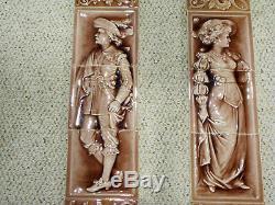 Antique ARTS & CRAFTS TILE FIREPLACE SURROUND PRETTY LADY & MAN