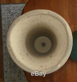 Antique Arts & Craft Pottery Jardiniere & Pedestal Zanesville Matte Green Glaze
