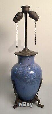 Antique Arts & Crafts Art Pottery & Wrought Iron Lamp Unsigned Fulper Blue Glaze