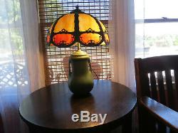 Antique Arts & Crafts Matte Green Pottery Lamp with Slag Glass Shade Weller McCoy