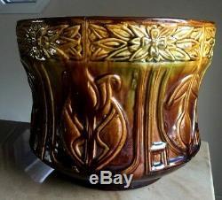 Antique Arts & Crafts Mission PLANTER Majolica Pottery BIG 12Diameter X 10H
