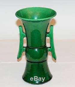 Antique Awaji Pottery Arts & Crafts Green Gu Form w Handles Monochrome Vase