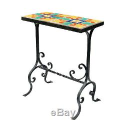Antique D&M California Tile Top Arts & Crafts Wrought Iron Plant Stand Table