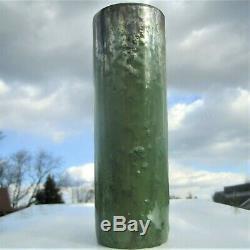 Antique Fulper Arts Crafts Pottery Cylindrical Mottled Cucumber Green Glaze Vase