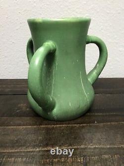 Antique Hampshire Arts Crafts Pottery Three Handled Matte Green Mission Vase