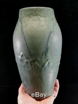Antique Hampshire Pottery Vase #90 Matte Green Variegated Robertson Arts&Crafts