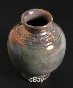 Antique Pewabic Pottery Carved Vase Detroit Circa 1915 Rare Arts & Crafts