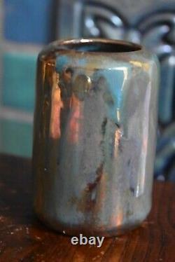 Antique Pewabic Vase Iridescent 4 1/4 Arts Crafts exceptional colors