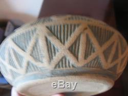Antique Red Wing Stoneware Brushware Arts & Crafts Era Enamel Green Bowl