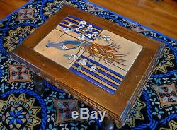 Antique Taylor Tilery Arts & Crafts Tile Table Exotic Birds California Pottery