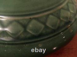 Antique / Vintage Green Art Pottery Squat 2 Light Table Lamp Arts & Craft