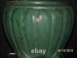 Antique Zanesville Cucumber Glaze Ribbed Vase/Bowl Arts & Crafts Mission Era