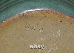 Antique Zanesville Stoneware Co Ringed Green 2 Handle Vase #523 Arts & Crafts