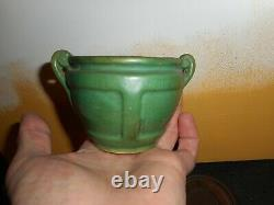 Antique signed Arts and Crafts small green pottery vase on stand