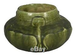 Arts And Crafts Studio Pottery Floral Organic Green Vase (Artist Signed)
