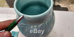 Arts & Crafts 1913 Josef Ekberg Gustavsberg Pottery Vase 12 Tall Blue Cherries