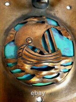 Arts & Crafts Copper & Ruskin Pottery Handle / Door Knocker Ship B. L & S Signed