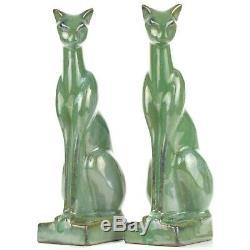 Arts & Crafts/Deco Fulper Pottery Green Crystalline 9 1/2 Cat Bookends c1939