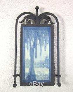 Arts & Crafts Ephraim Spanish Moss Tile and Iron Wall Plaque