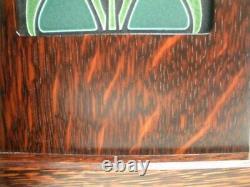 Arts & Crafts MOTAWI TILEWORKS Lotus Pottery Tile Oak Wood Bookend Mission Set