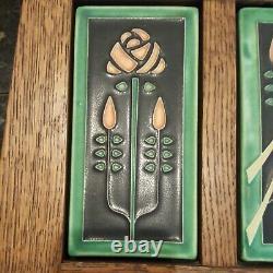 Arts & Crafts MOTAWI TILEWORKS Songbirds Pottery Tile Oak Wood Mission Set