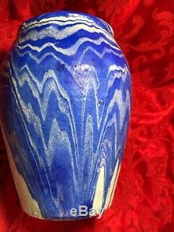 Arts Crafts Ozark Roadside jagged Blue White Art Pottery Jar Vase