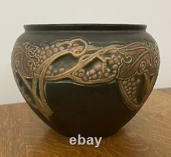 Arts & Crafts Roseville Pottery Rosecraft Vintage Brown Jardiniere Planter 8