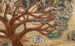 Arts & Crafts Style Jmj Tile Studio Pottery Oak Tree Wall Plaque Joshua Johnson