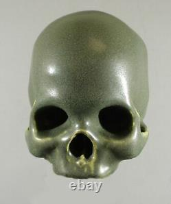 Arts & Crafts Style Matte Green Life Size Pottery Detailed Human Skull