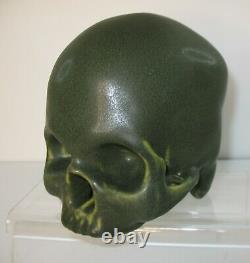 Arts & Crafts Style Matte Green Mottled Drip Art Pottery Life Size Human Skull