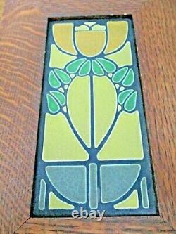 Arts & Crafts TIGER OAK Framed MOTAWI Pottery Tile 11.5 x 7.5 STUNNING